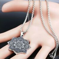 Silver Stainless Steel Flower of Life Mandala Pendant Necklace Chakra Yoga