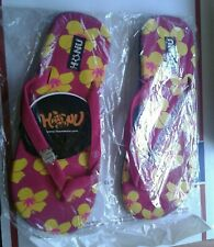 Honu Honey's Pink Sea Flip Flops Thong Sandal Sea Turtle Floral Women 9/10 Beach