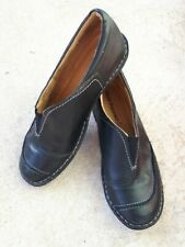 WOMENS HUSH PUPPIES ENGINE LADIES LEATHER NAVY CASUAL WORK  FLATS SHOES.LIKE NEW