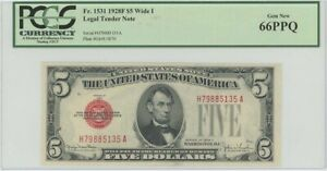 1928F $5 Legal Tender FR#1531 PCGS 66 Gem PPQ Wide I