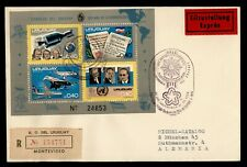 1975 URUGUAY FDC S/S SPACE SPECIAL DELIVERY REGISTERED