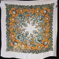 1960's Mid Century Geometric Floral Paisley Silk Scarf (27 x 27)
