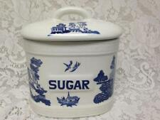 Vintage, Empire Ware, England, Blue Willow Sugar Canister 8inT x 7.5inW x 4.5inD