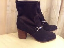 New 🌷Next🌷Size 7 (41 EU)Brown Suede Leather Block Heel Sock Slip Pull On Boots