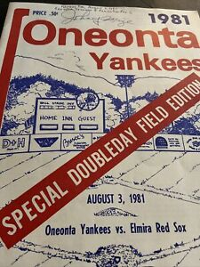 1981 JOHNNY MIZE BASEBALL HOF GAME PROGRAM ONEONTA YANKS/RED SOX DOUBLEDAY FIELD