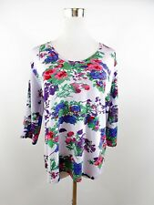 Women's Floral Beads Jersey Long Sleeve Casual Blouse Top Plus sz 2XL UK 18 BH18