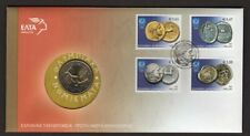 """GREECE 2004 - Cover Ancient Coins stamps & 2 Euros coins """"Athens Olympic Games"""""""