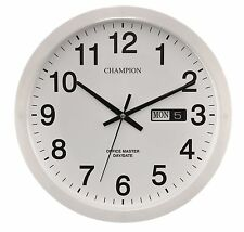 Office Master Large Bold 14 inch (355mm) White Day & Date Quartz Wall Clock