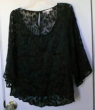 Love 21. Black 3/4 sleeve semi-sheer lace top size XS
