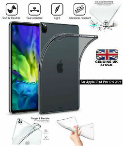 """Clear Silicon Gel TPU Protective Case Back Cover For Apple iPad PRO 12.9"""" 2021"""