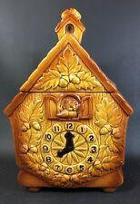 Vintage Htf Lefton Brown Cuckoo Clock Bird Cookie Jar 1K