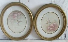 Vintage 1985 Homco Set of 2 Gold Resin Oval Hummingbird Pictures Margie Morrow