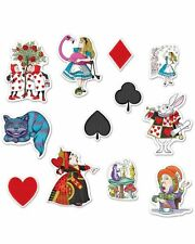 12 ALICE IN WONDERLAND CUTOUTS PARTY DECORATIONS MAD HATTER WHITE RABBIT QUEEN