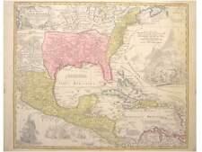 1 Orig oldcol. coppermap Homann 1718 REGNI MEXICANI