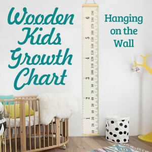 Wooden Kids Growth Height Chart Ruler Child Room Decor Wall Hanging Measure