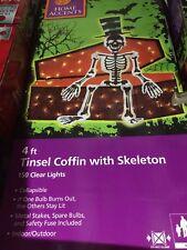 New 4' Lighted Tinsel Coffin w/ Skeleton - Halloween Yard Decor