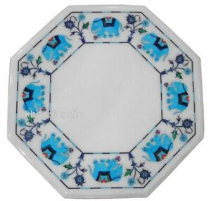 15 Inches Marble Coffee Table Top Hand Inlay Work Side table with Antique Design
