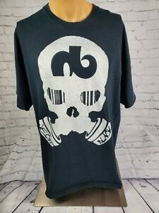 Neon Black Clothing Skull Respiratory Black Graphic Shirt Sz XL