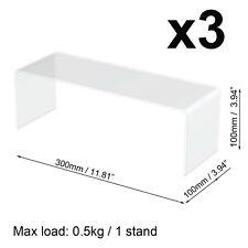 3x 30cm PERSPEX ACRYLIC BACK OF DISPLAY BRIDGE STAND RISER SHELF (3mm)30x10x10cm
