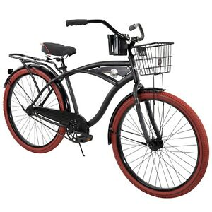"Huffy 26"" Nel Lusso Men's Cruiser Bike Matte Black Free Fast Shipping New Arrive"