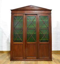Antique large glazed library bookcase - school cupboard - side cabinet - larder