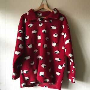 Vintage Radish Countrywear Red Sheep Print Fleece Pullover, Size M 8/10 Oversize