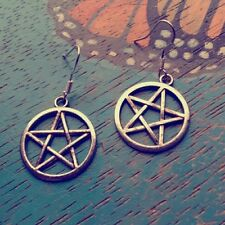Bewitching Star Pentacle Earrings on 18K White Gold Filled French Hooks