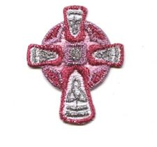 Pink/Silver Celtic Religious Cross - Iron on Applique/Embroidered Patch