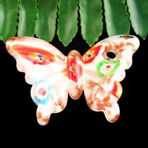 Carved White Rainbow Lampwork Glass Butterfly Pendant Bead D62564