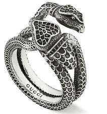 New Gucci Women's Aged Sterling Silver Gucci Garden Snake Ring YBC525177001015