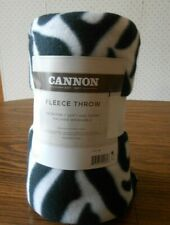 """Cannon Fleece throw 50"""" by 60"""" black and white zebra striped New"""