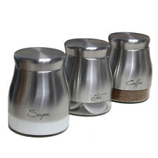 Set of 3 Tea Coffee Sugar Kitchen Storage Canisters Jars Food Containers Tins