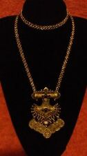 New Look Coin Drop Statement Silvertone & Jet Black Stones Necklace*****