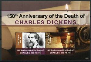 Guyana Writers Stamps 2020 MNH Charles Dickens Memorial Famous People 2v S/S