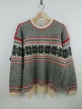 New Sportswear of Norway Men Sweater Medium Nordic Shetland Wool Cream Black Ski