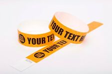 "20 Custom Printed Neon Orange 1"" Tyvek Paper Wristbands for Events,Festivals"
