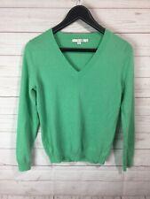 Boden 100% Cashmere V Neck Sweater Pullover Green UK 12 US 8