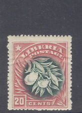 Liberia 1909, 20c flower, INVERTED CENTER $$, creased #120a