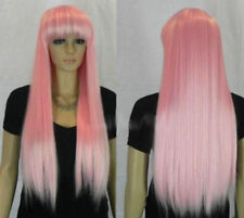 Hot Sell New Fashion Long Pink Straight Women Lady Cosplay Hair Wig Wigs + Cap