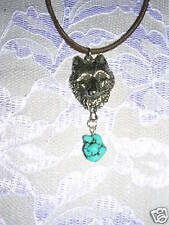 "WOLF HEAD FACE w TURQUOISE NUGGET 18"" NECKLACE WOLVES"