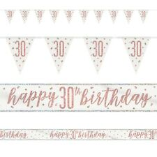 Rose Gold Glitz Age 30 Birthday Banners, Foil Banner, Flag Banner, Party, Pink