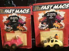 2 Vintage   1985 McDonalds Happy Meal Toy Car Fast Macs Pull Back Car