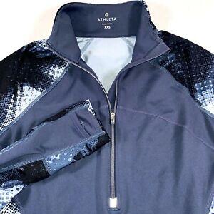 ATHLETA Running Wild 2.0 Womens XXS Half Zip Electric Print Long Sleeve Pullover