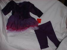 HOLIDAY EDITIONS Outfit 3-6 Months 2 Piece Purple Velour 6 Layer Ruffle NWT