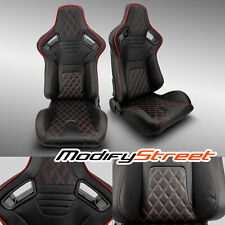 2 x BLACK PVC LEATHER/RED STITCH LEFT/RIGHT RACING BUCKET SEATS PAIR