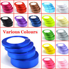 25 Yards Of Satin Ribbon 6,10,15,20,25,38mm In Multicolor Sold In Roll Craft lot