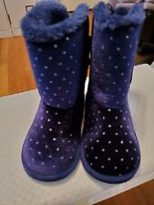 Toddler 7 Girl Navy Blue Silver Sparkle Bow Boots Crazy 8- Perfect Shape!