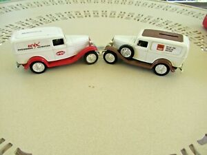 2 ERTL 1932 FORD DELIVERY PANEL TRUCK BANKS ~ TRUSTWORTHY HARDWARE & WIX FILTERS