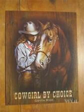 Western Cow Girl Horse Rider Country Rancher Rustic Metal Sign Picture Poster