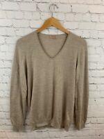 Falconeri Womens 100% Cashmere Vneck Tan Beige Long Sleeve Sweater Size LL (XL)